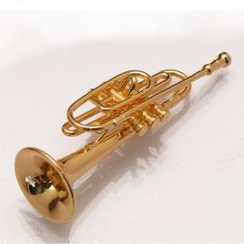 Miniature vitrine trompette en laiton et coffret 1.5x6cm