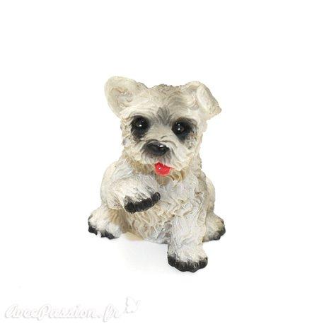 Miniature vitrine chien blanc et gris 3x3.5cm
