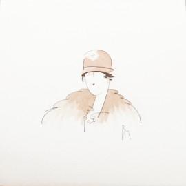 Aquarelle Brigitte Misériaux femme 1900 sépia