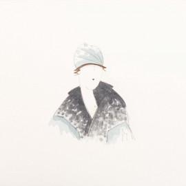 Aquarelle Brigitte Misériaux femme 1900 bleu gris