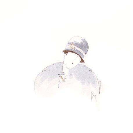 Aquarelle Brigitte Misériaux femme 1900 gris