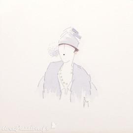 Aquarelle Brigitte Misériaux femme 1900 lilas