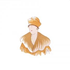 Aquarelle Brigitte Misériaux femme 1900 orangé