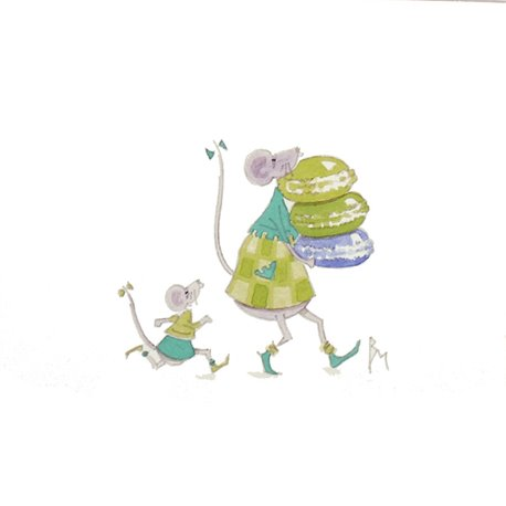 Aquarelle Brigitte Misériaux souris et macarons vert