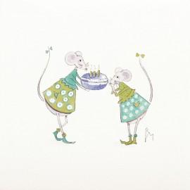 Aquarelle Brigitte Misériaux souris et macarons turquoise