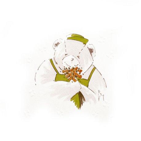 Aquarelle Brigitte Misériaux nounours 4 saisons printemps