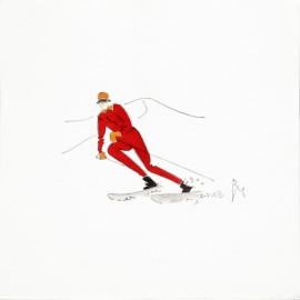 Aquarelle Brigitte Misériaux ski skieuse