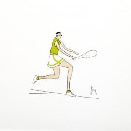 Aquarelle Brigitte Misériaux joueuse de tennis