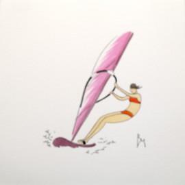 Aquarelle Brigitte Misériaux planche à voile