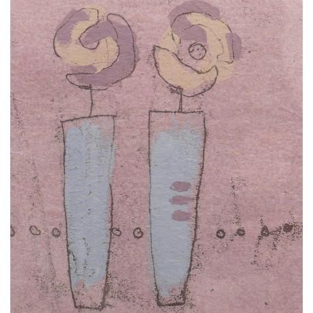 Carte postale fleurs les deux vases