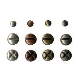 Attaches parisiennes vis métal vieilli 4mm et 8mm