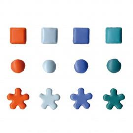Attaches parisiennes orange turquoise bleu et ciel 4mm