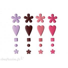 Attaches parisiennes bordeaux rose fuschia et parme fleurs