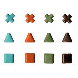 Attaches parisiennes turquoise kaki rouille cuivre 4mm