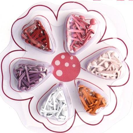 Attaches parisiennes rouge 6 couleurs 2mm