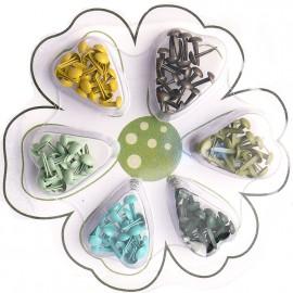 Attaches parisiennes vert 6 couleurs 2mm