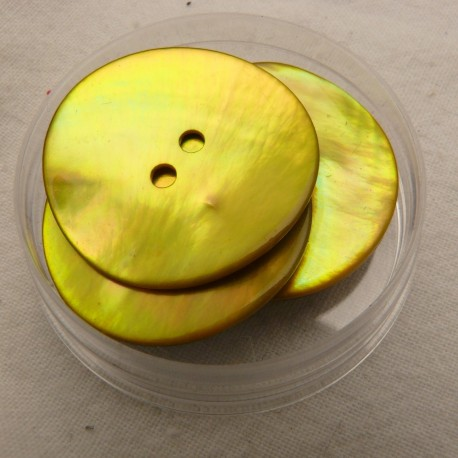Boutons nacre rond jaune 28mm qu4