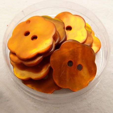 Boutons nacre fleur orange 20mm qu10