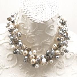 Collier ras de cou perle de verre nacrée grise bijou fantaisie de créateur