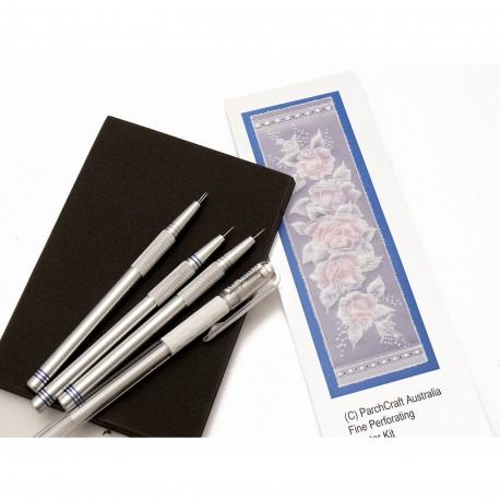 Kit 3 outils à perforer fins + tapis feutre papier ParchCraft Australia