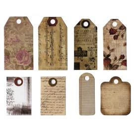 Etiquettes en papier imprimées vintage vendues par 24
