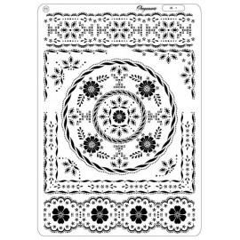 Pergamano multi grille embossage piquage 11 fleurs bordures 31421