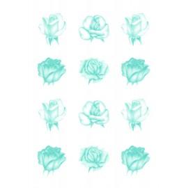 Pergamano feuille parchemin vellum roses bleue 62551 à l'unité