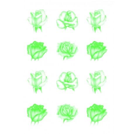 Pergamano feuille parchemin vellum roses verte 62552 à l'unité