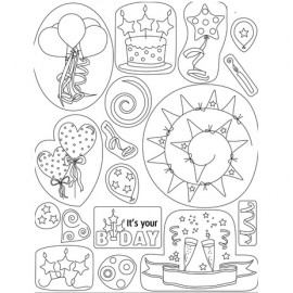 Tampons clear stamps anniversaire 41910 Pergamano