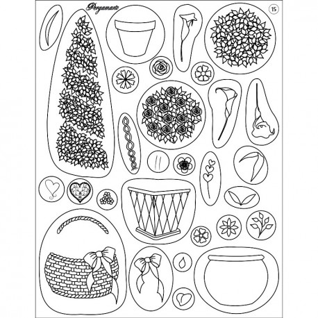 Tampons clear stamps fleurs et pots 41915 Pergamano