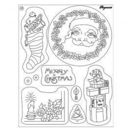 Tampons clear stamps pere noel et cadeaux 41917 Pergamano