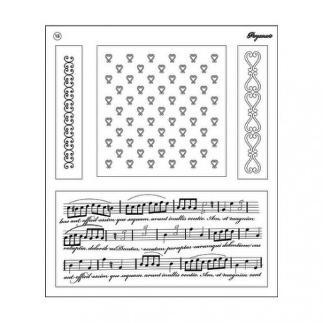 Tampons clear stamps coeur et musique 41918 Pergamano