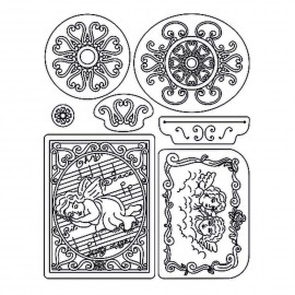 Tampons clear stamps ange et ornements 41919 Pergamano