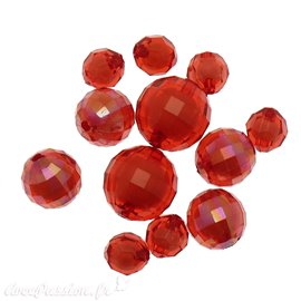 Perles acrylique rouge x12 10/16/20mm