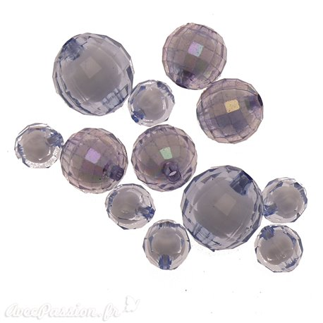 Perles acrylique lavande x12 10/16/20mm