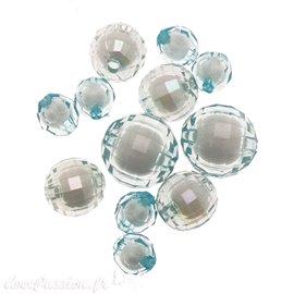 Perles acrylique bleu ciel x12 10/16/20mm