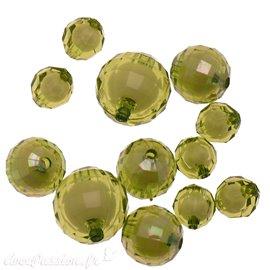 Perles acrylique vert olive x12 10/16/20mm