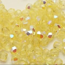 Perles facette AB 4mm jonquille qu50