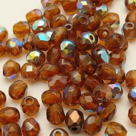 Perles facette AB 4mm topaze qu50