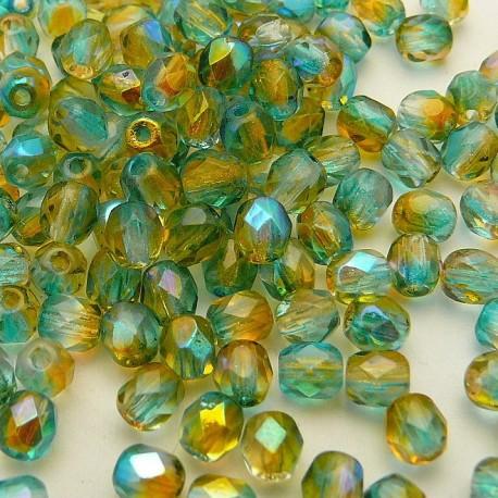 Perles facette 4mm bicolore bleu ambre qu50