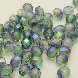 Perles facette 4mm bicolore bleu et vert qu50