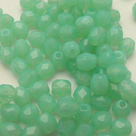 Perles facette 4mm spécial opaque vert qu50