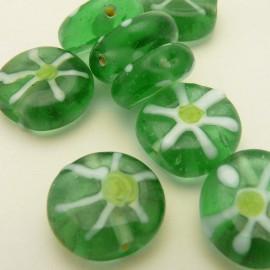 Perle en verre acidulée vert 15mm