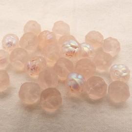 25 Perles en verre boule rose irisée 6mm