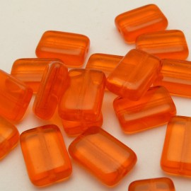 10 Perles rectangle orange 12x8mm