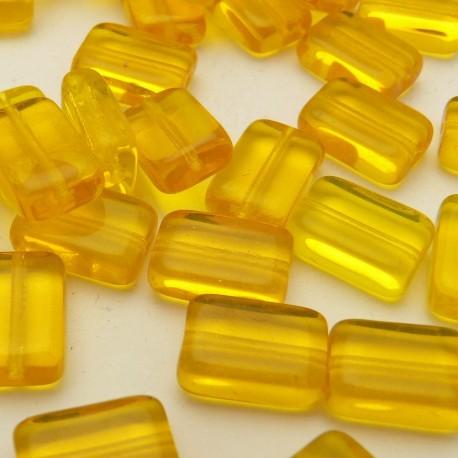 Perles fantaisie rectangle jaune 12x8mm qu10