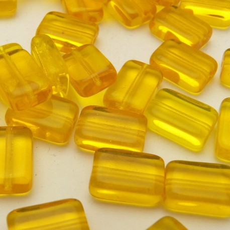 10 Perles rectangle jaune 12x8mm