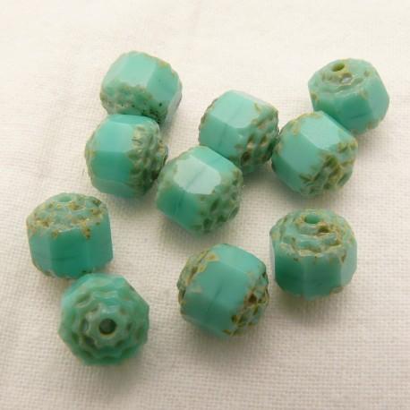 Perles fantaisie ronde opaque turquoise 8mm qu10