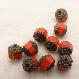 10 Perles ronde opaque corail 8mm