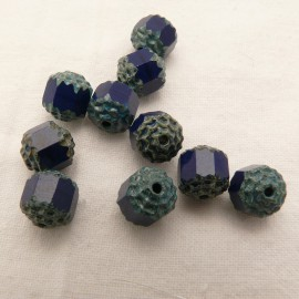 Perles fantaisie ronde opaque bleu 8mm qu10